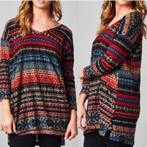 Fair Isle Print Velvety Top NWOT